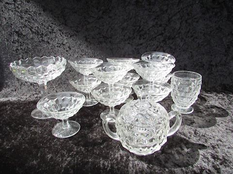 American Fostoria Clear Glassware Lot, 14 pieces