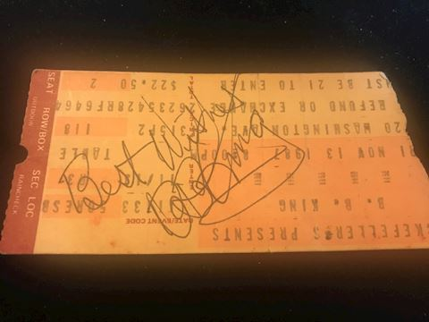 BB King Signed Ticket from 1987