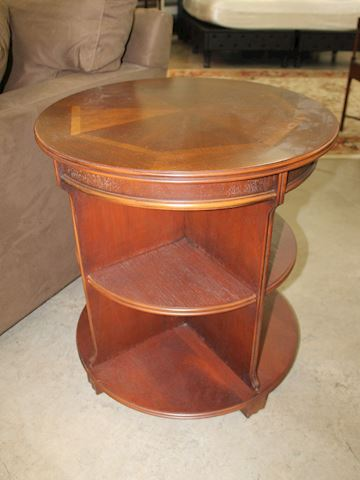 Elegant Round 3 Tier Wood End Table by Lane