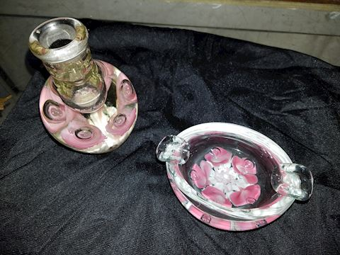 Beautiful Vintage Glass - Floral Ashtray and Vase