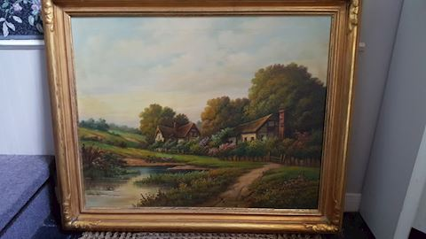 SIGNED THOMAS MANNING MOORE LANDSCAPE OIL PAINTING