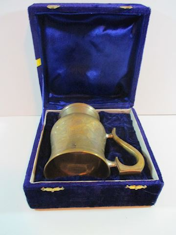"Antique Gold Plated Cup with the case 5"" tall"