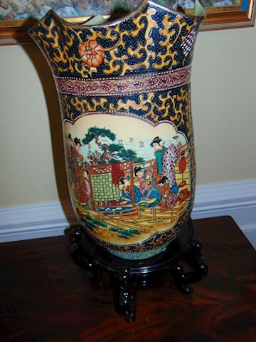 Antique Chinese Vase with Rosewood Base