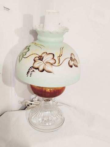 Antique Oil Lamp Hand Painted Butterflies Glass