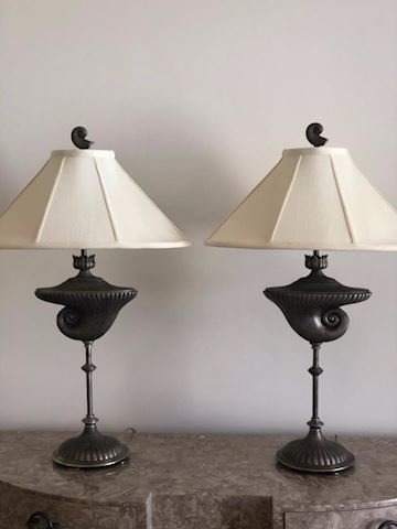 two lamps metal silvery black with lamp shades
