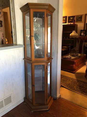 Wood and Glass Lighted Corner Curio Cabinet
