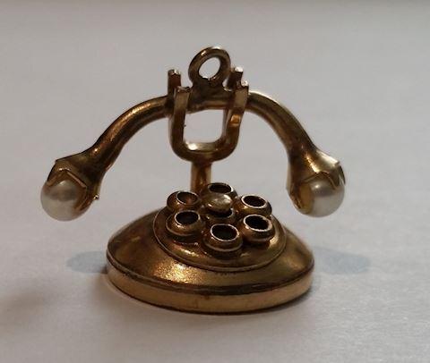 14K GOLD CHARM VINTAGE TELEPHONE
