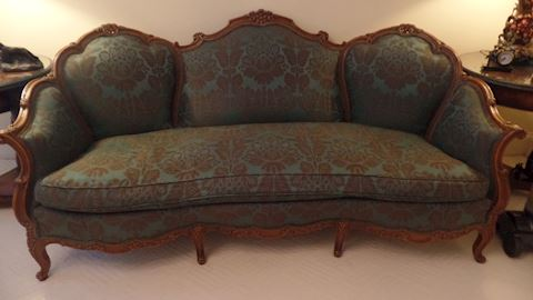 Italian Blue/Green Carved Sofa