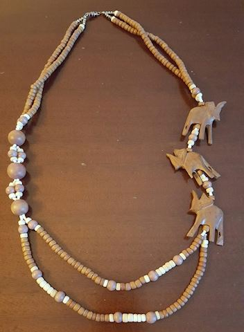 Carved Wood Elephant Statement Necklace