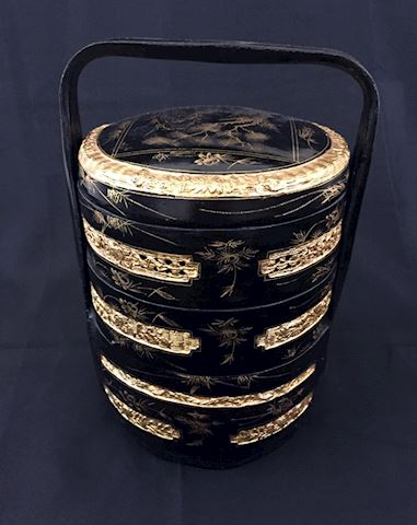 Vintage Asian Black Lacquer Wedding Basket