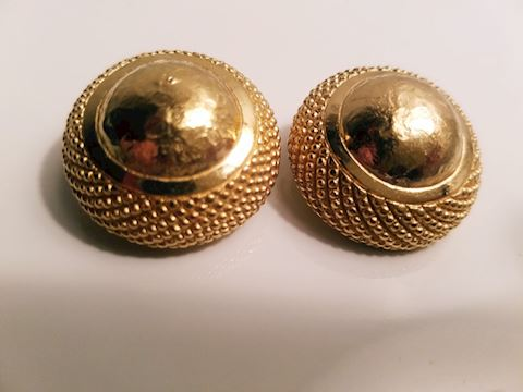 Vtg Christian Dior Gold Nubby Dome Clip Earrings
