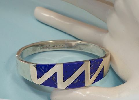 Heavy Sterling Silver & Lapis Hinged Bracelet