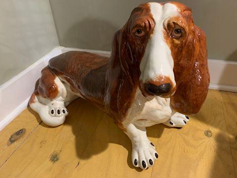Ceramic Basset Hound Figurine