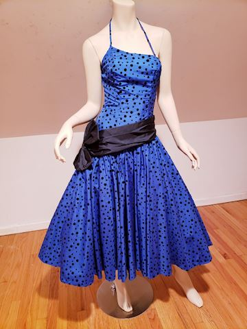 Azul Midi ball Dress velour Polka Dots