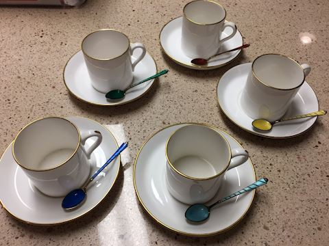 Stunning Spode Demitasse set with sterling spoons