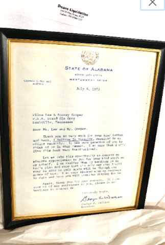 Letter Signed by Gov. George Wallace, Alabama