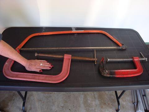 sandvik 9 wood saw & 2 large clamps Lot #121