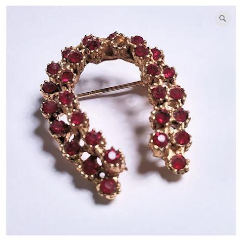 Gold Brooch 29 Small Ruby Gemstones