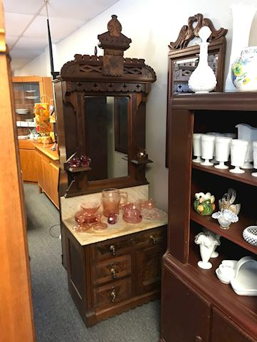 Dry Sink Antique European Cabinet with Mirror