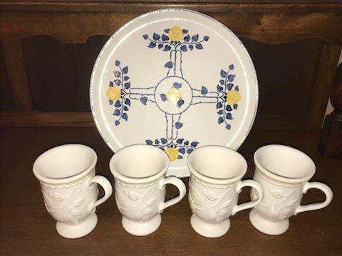 4 White Lenox Mugs, Villeroy & Boch Platter