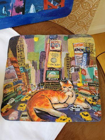 Cat art and bowl lot I-9