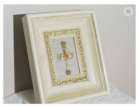 Art Handcrafted GOLD Cross w/ Frame VINTAGE