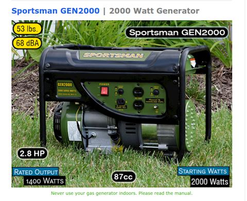 Portable Generators 2000 Watts Two 120V Outlets