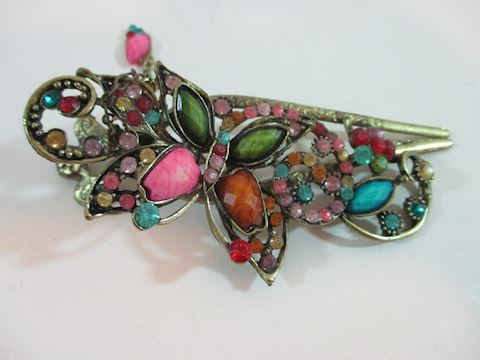 "Vintage Butterfly Hair Clamp 5"" Costume Piece"
