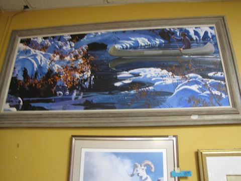 Original Oil - Indian/Canoe Winter Scene