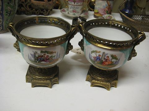 Pair Of Antique Porcelain and Bronze Vases
