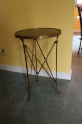 1960's Campaign Bronze Claw Foot Accent Table