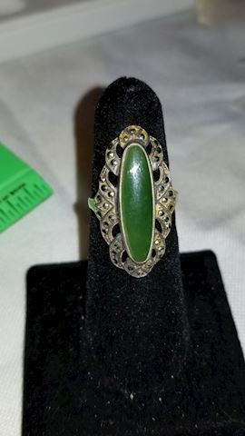 Sterling and jade-like ring