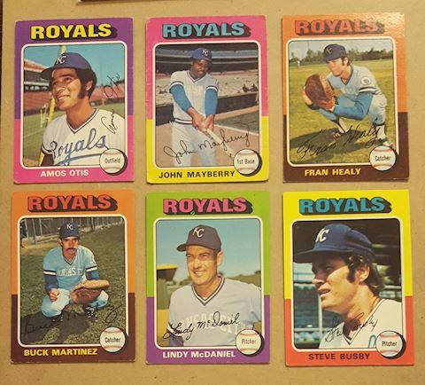 8 Vintage 1975 Kansas City Royals Baseball Cards