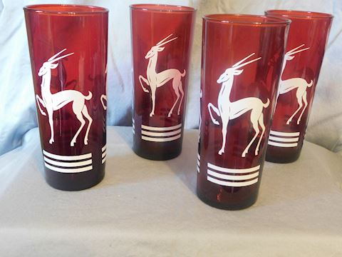 Four Gazelle Tom Collins Glasses