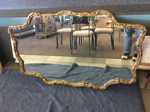Large Custom Shaped Vintage Mirror 58x38""