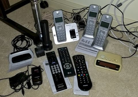 Misc electronics, phones and remotes, flash lights