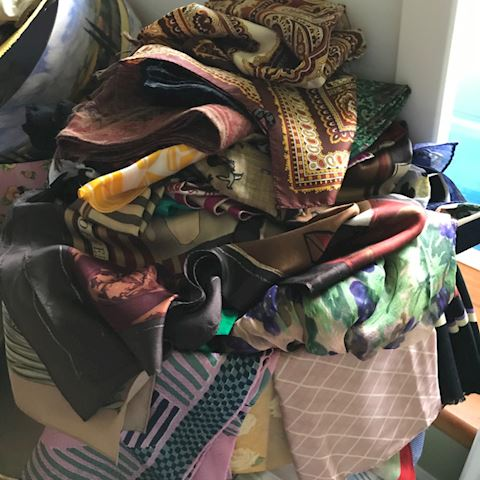 Huge box of silk and other scarves