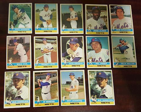 14 New York Mets 1976 Baseball Cards