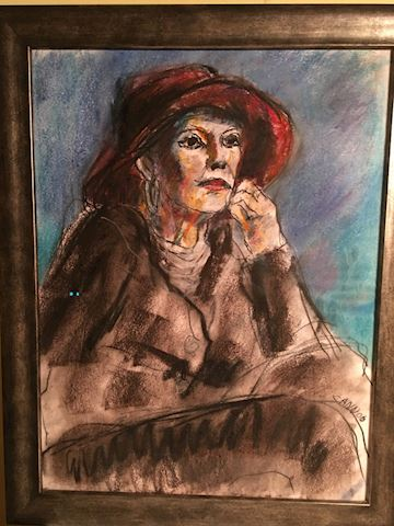 Impressionist Drawing Pensive Lady in Hat
