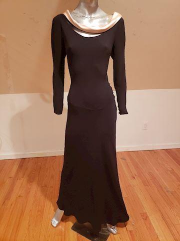Vtg Bill Blass Maxi bias Gown draped collar