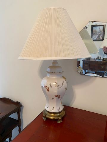 Beautiful Pr. Of  Porcelain Butterfly Lamps