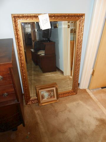 Lot # 105 Beveled mirror and picture