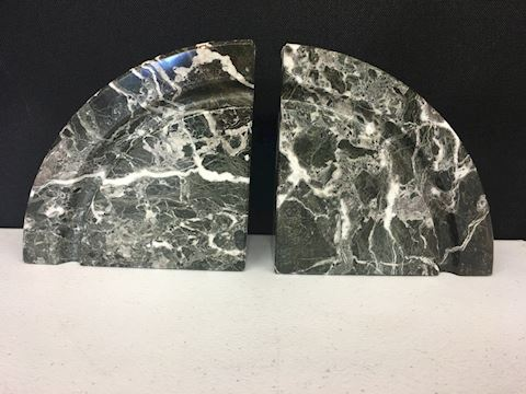 "Pair of 6"" solid marble book-ends"