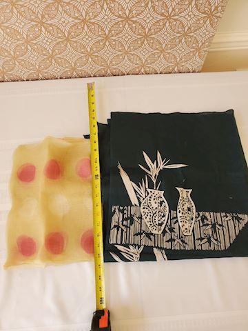 2 Japanese pattern fabric squares
