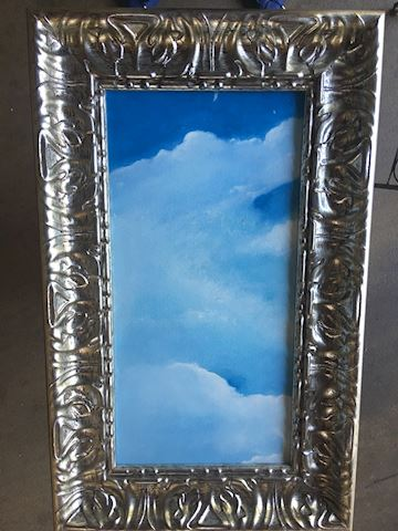 Rectangular Original Oil Painting of Clouds Sky