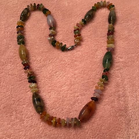 brown beaded necklace long