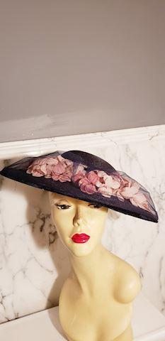 Milan 40's Straw wide brim Hat Millinery Flowers