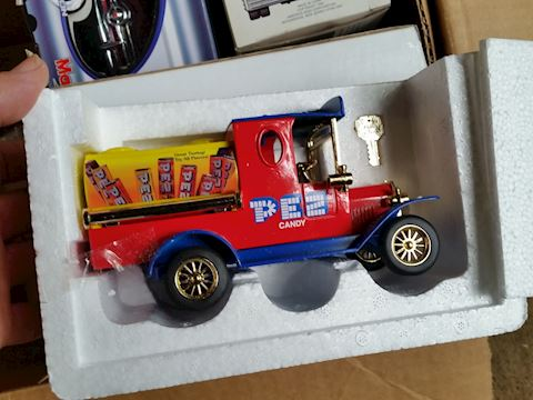 die cast truck with pez candy car bank
