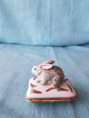 Limoges trinket box, Rabbit on pillow with carrots
