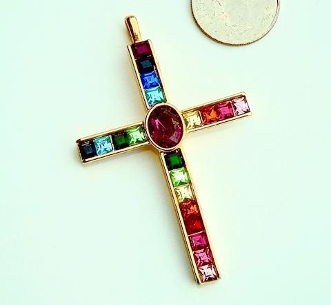 Colorful Rhinestone Cross Pendant, Rainbow Colors